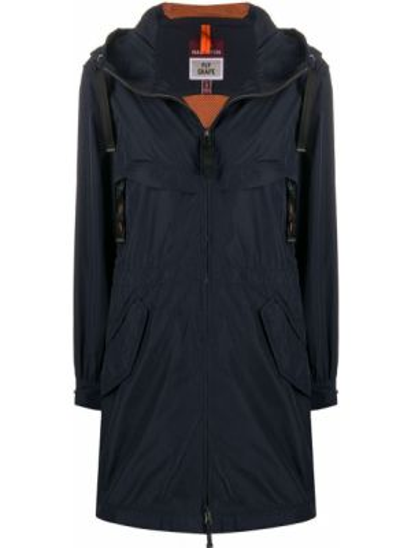 Синий длинное пальто из плащевки Parajumpers