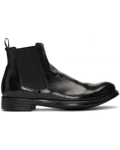 Czarny buty skórzane prążkowany z prawdziwej skóry okrągły nos Officine Creative