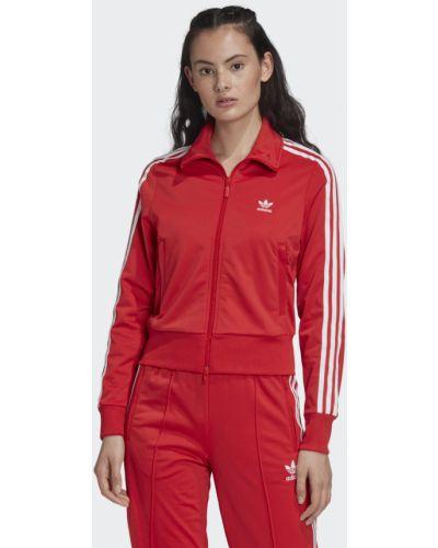 Красная олимпийка с высоким воротником Adidas