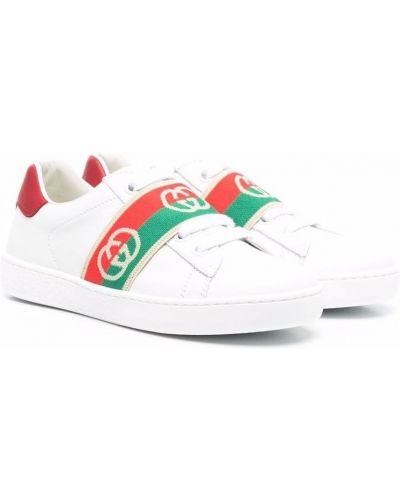 Białe buty sportowe na obcasie Gucci Kids