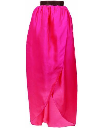 Розовая юбка макси со складками Christian Siriano