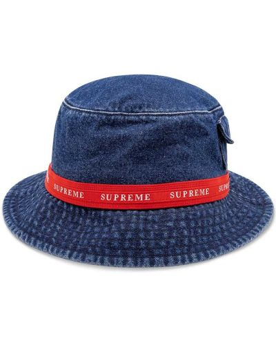 Bawełna niebieski kapelusz z kieszeniami żakard Supreme