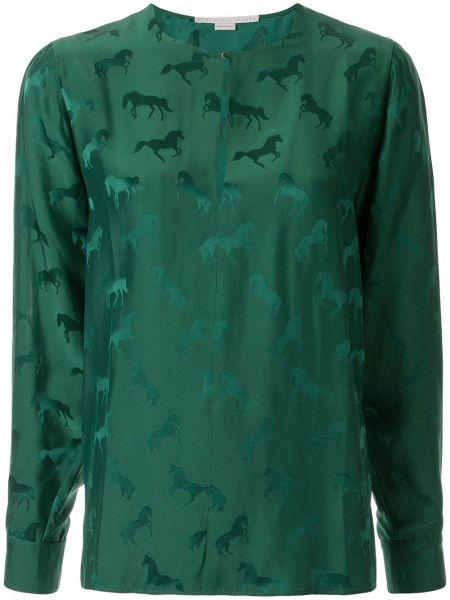 Блузка с длинным рукавом шелковая в полоску Stella Mccartney