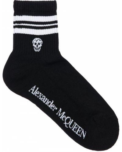 Ватные черные хлопковые носки Alexander Mcqueen