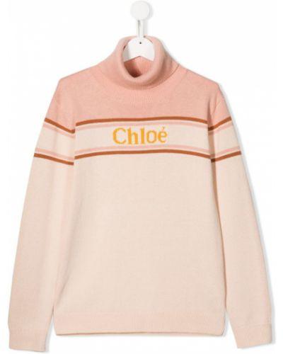 Джемпер розовый с логотипом Chloé Kids