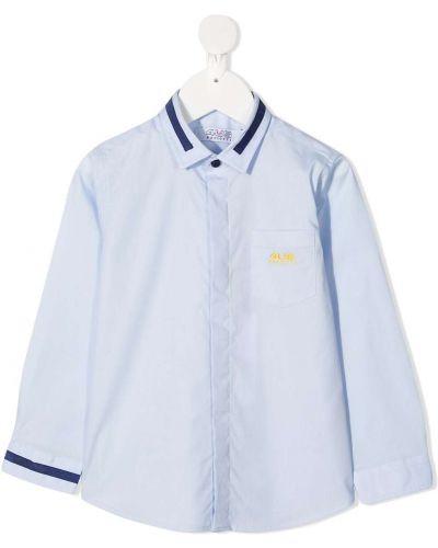 Синяя рубашка на пуговицах с карманами с вышивкой Cesare Paciotti 4us Kids