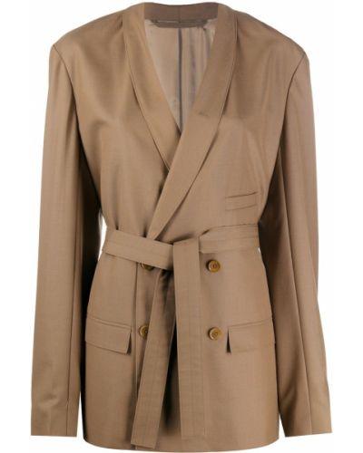 Коричневый удлиненный пиджак оверсайз с поясом Lemaire