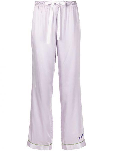 Фиолетовые брюки из вискозы с завязками Morgan Lane