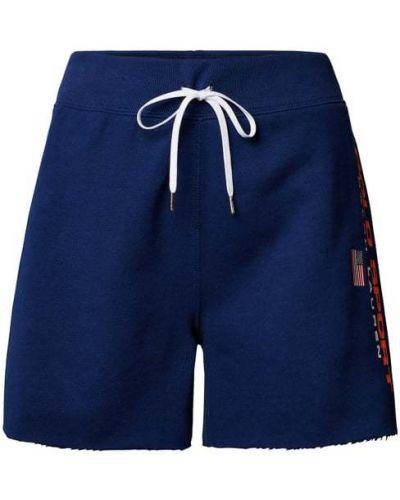 Niebieskie szorty bawełniane z printem Polo Ralph Lauren