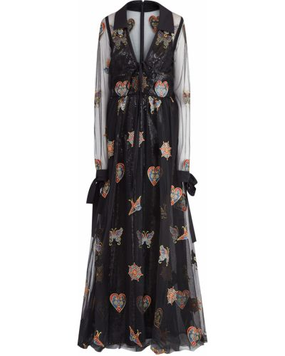 Вечернее платье с вышивкой с V-образным вырезом Elie Saab