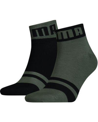 Хлопковые спортивные зеленые носки с надписью Puma