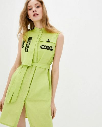 Зеленое платье-рубашка Ricamare