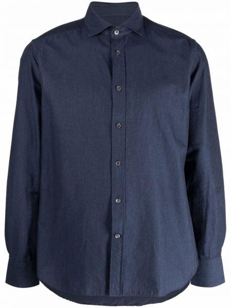 Синяя хлопковая рубашка Corneliani