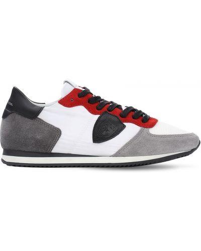 Skórzany ażurowy sneakersy z łatami na sznurowadłach Philippe Model
