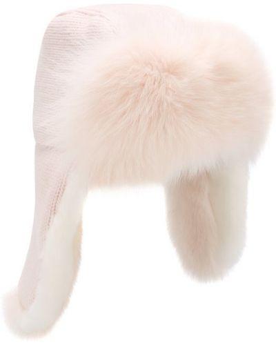 Вязаная шапка с мехом из кролика Yves Salomon