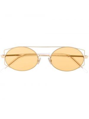 Золотистые желтые солнцезащитные очки металлические Dior Eyewear