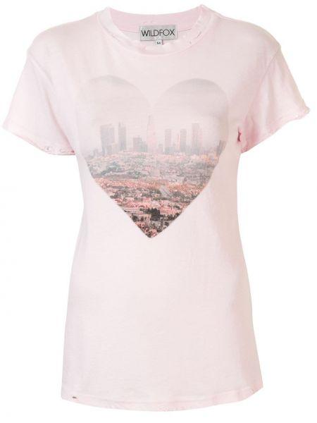 Różowy t-shirt bawełniany miejski Wildfox
