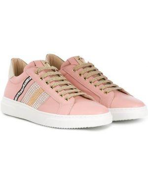 Розовые кожаные кроссовки на шнуровке Cesare Paciotti Kids