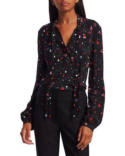 Черная блузка с длинными рукавами из вискозы Derek Lam