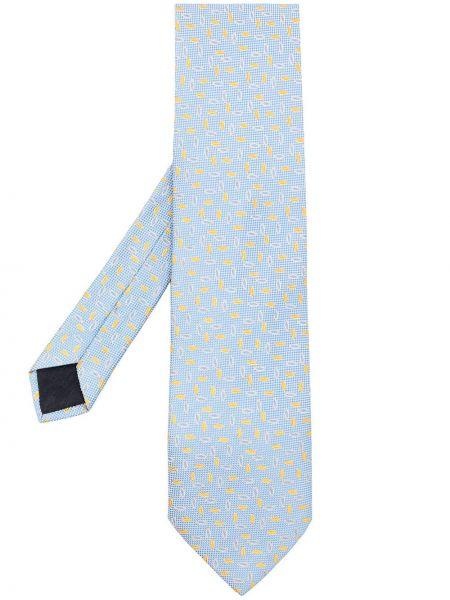 Żółty krawat z jedwabiu w szpic Hermes