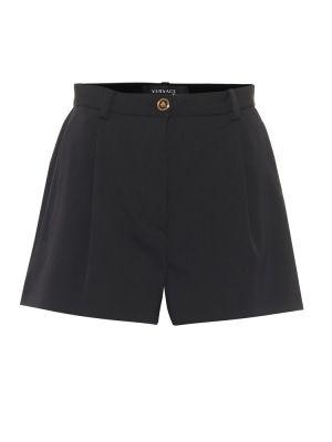 Шерстяные однобортные черные шорты стрейч Versace