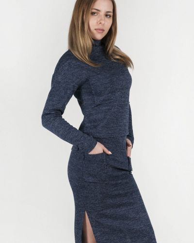 Синий вязаный юбочный костюм Vergans