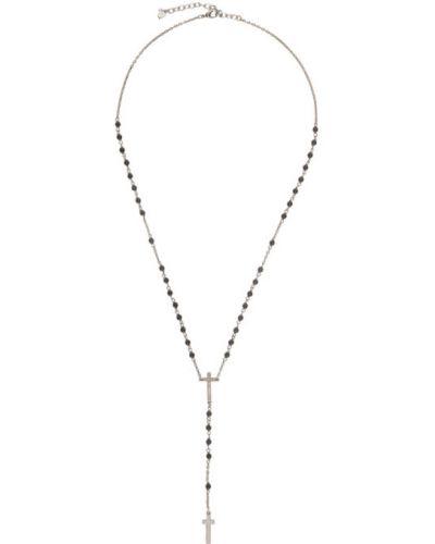 Серебряный крест с подвесками с бисером Dsquared2