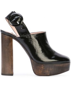 Черные мюли на каблуке Leandra Medine