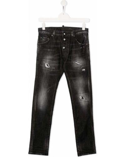 Кожаные черные джинсы-скинни на пуговицах Dsquared2 Kids