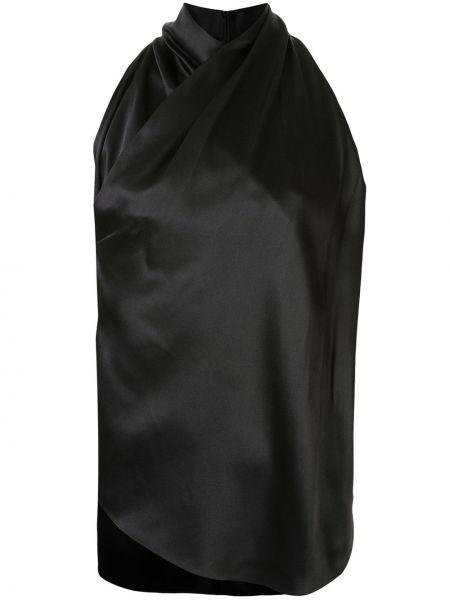 Черная прямая блузка без рукавов с воротом халтер с вырезом Adam Lippes