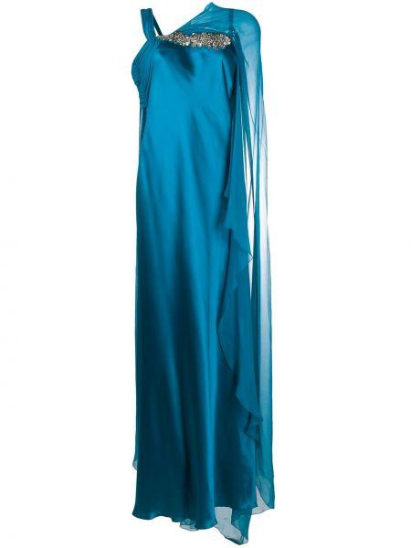 Асимметричное вечернее платье с V-образным вырезом с драпировкой без рукавов Alberta Ferretti