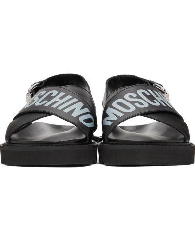 Czarne sandały srebrne z klamrą Moschino