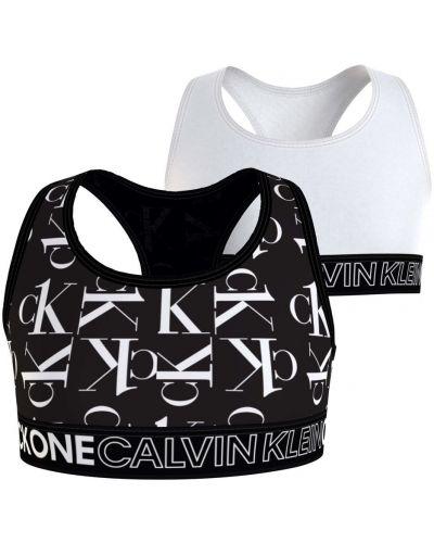 Czarny bralet z printem srebrny Calvin Klein