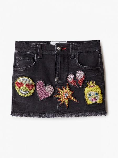 Серая джинсовая юбка Philipp Plein