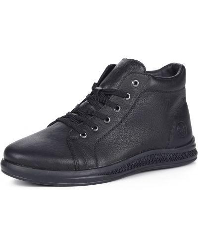 Черные кожаные ботинки на шнуровке Rieker