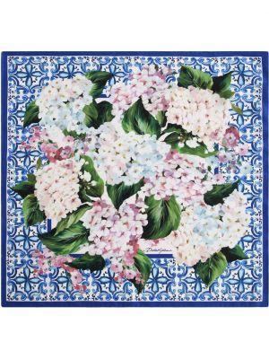 Синий шелковый платок в цветочный принт Dolce & Gabbana