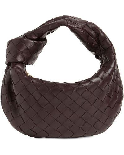 Фиолетовая кожаная маленькая сумка на молнии Bottega Veneta