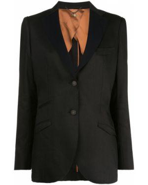С рукавами шерстяная черная длинная куртка с карманами Maurizio Miri