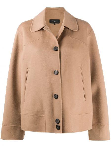 Бежевое прямое шерстяное длинное пальто с воротником Rochas