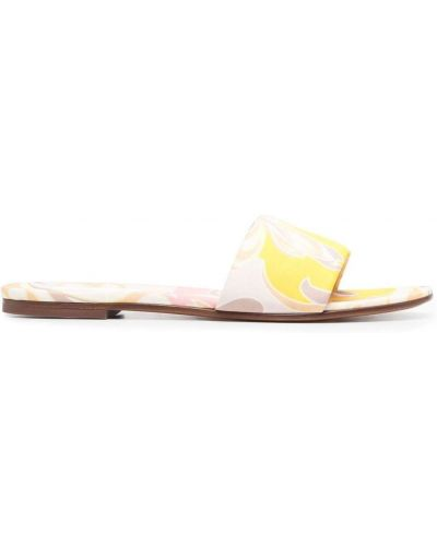 Żółte sandały płaska podeszwa peep toe Emilio Pucci
