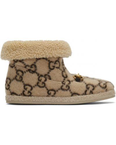 Wełniany czarny wysoki buty prążkowany okrągły nos Gucci