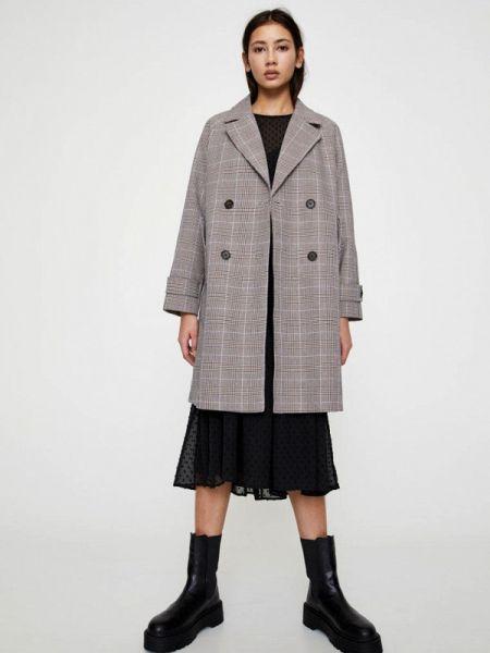 Пальто демисезонное серое Pull&bear