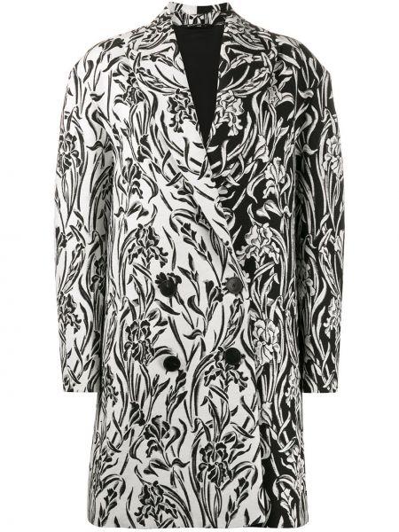 Белое длинное пальто двубортное на пуговицах Givenchy