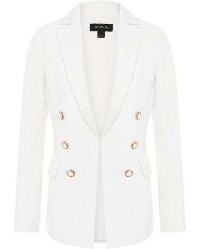 Шелковый белый пиджак с подкладкой на пуговицах St. John