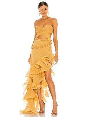 Klasyczna żółta sukienka z jedwabiu Bronx And Banco