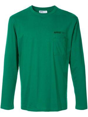 Zielony t-shirt z długimi rękawami bawełniany Affix