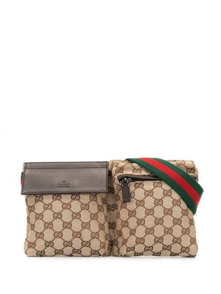 Коричневая парусиновая поясная сумка на молнии с декоративной отделкой Gucci Pre-owned