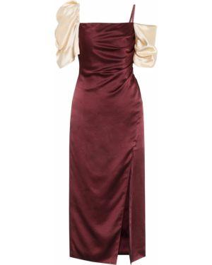 Платье миди бордовый шелковое Rejina Pyo