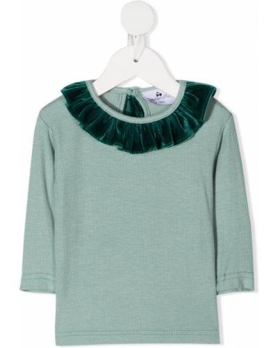 Зеленая блуза из вискозы с оборками на пуговицах Raspberry Plum