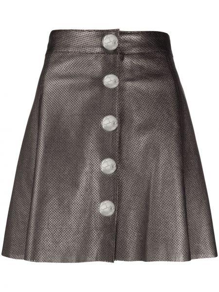 Серебряная с завышенной талией юбка с перфорацией на пуговицах Manokhi